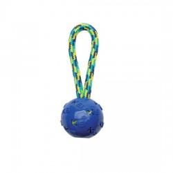 ZEUS Jouet K9 Balle TPR bleue avec corde à tirer pour chien