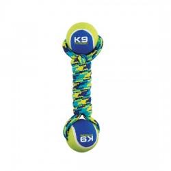 ZEUS Jouet K9 Haltère en corde/TPR avec 2 balles de tennis